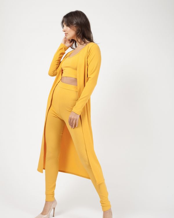 Yaria Ribbed Open Cardigan In Mustard