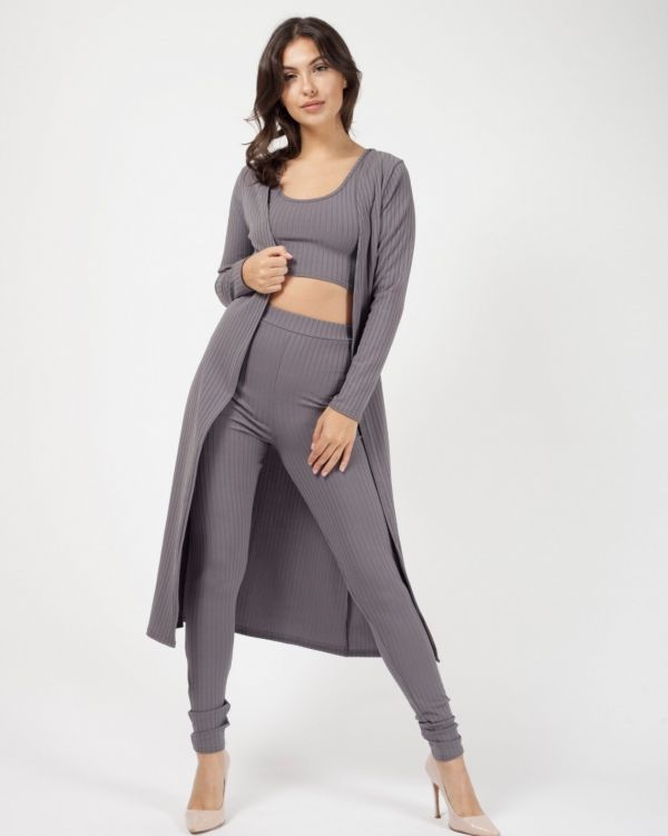 Yaria Ribbed Open Cardigan In Grey