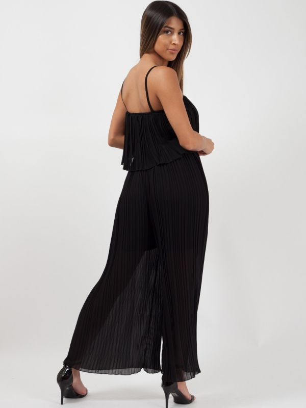 Bonnie Pleated Frill Cami Jumpsuit In Black
