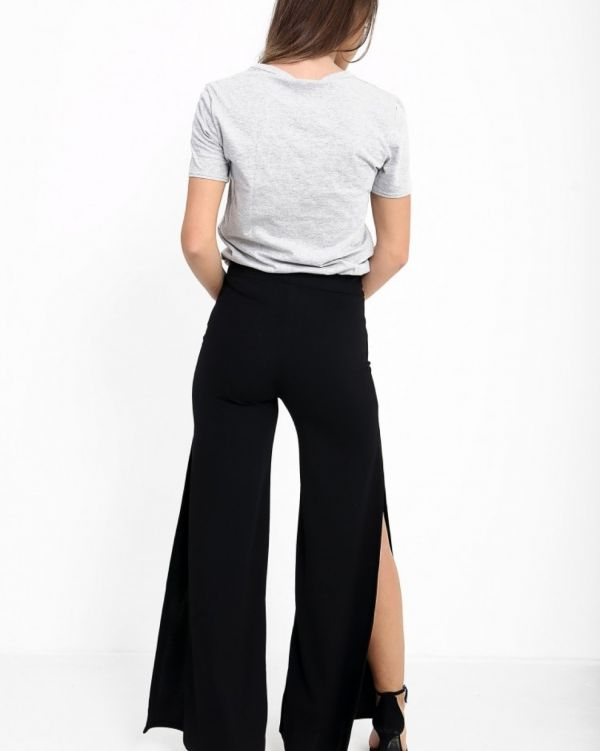 **Kady McDermott** Kayden Side Slit Wide Leg Trousers In Black