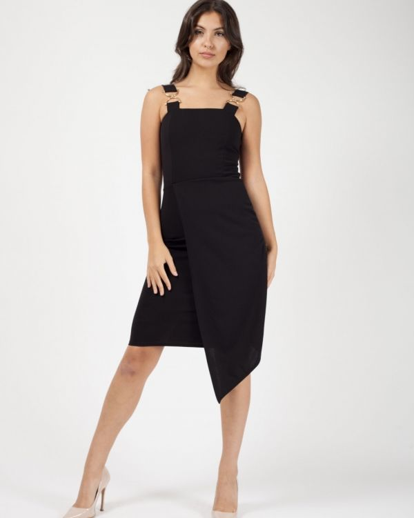 Alora Buckle Strap Wrap Front Asymmetrical Dress In Black