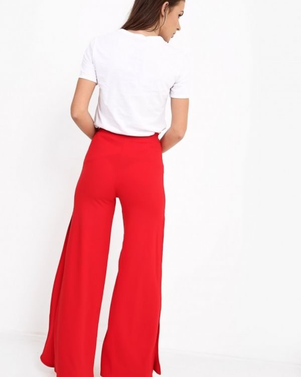 Kayden Side Slit Wide Leg Trousers In Red