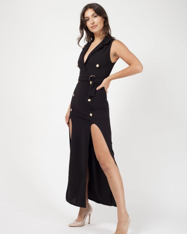 Kassandra Button Detail Split Maxi Dress In Black