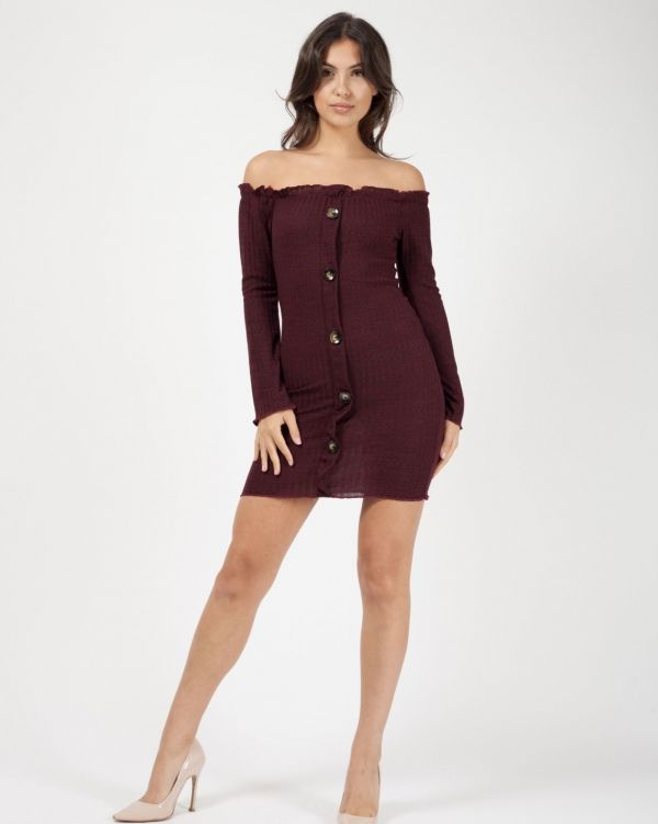 Amira Button Detail Ribbed Bardot Dress In Wine