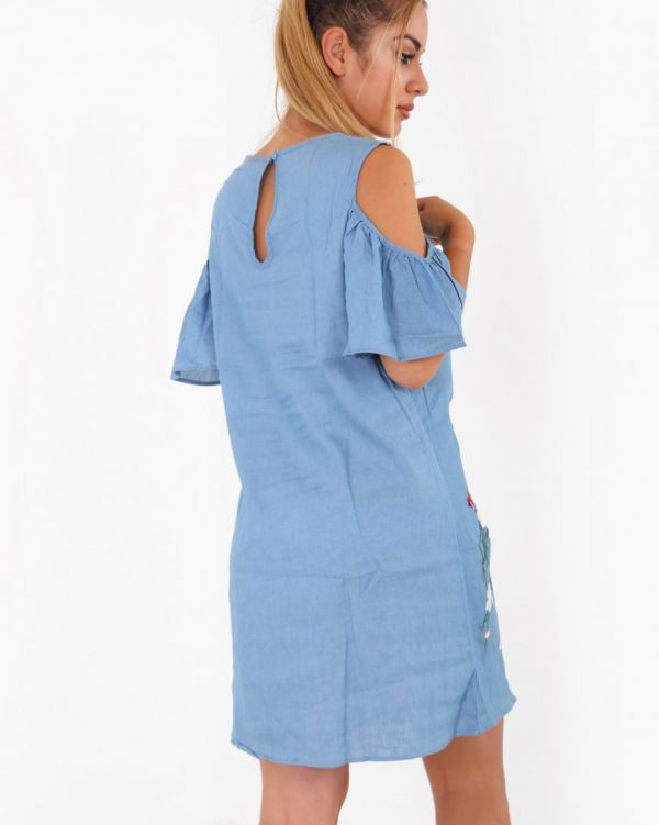 Xanthe Cold Shoulder Embroidered Dress In Blue