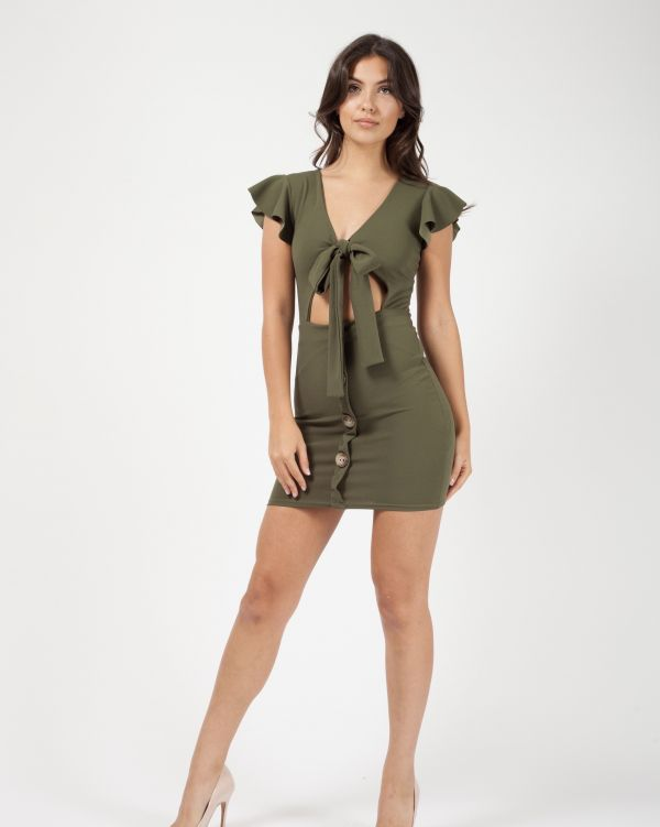 Alyssa Button Detail Knot Front Dress In Khaki