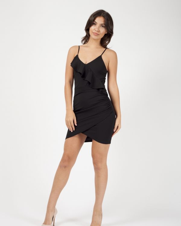 Tamara Frill Detail Ruched Mini Dress In Black