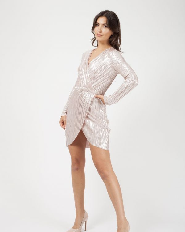 Jessie Metallic Pleated Wrap Over Front Mini Dress In Nude