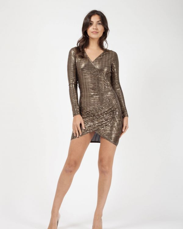 Kimora Wrap Front Ruched Sequin Dress In Gold