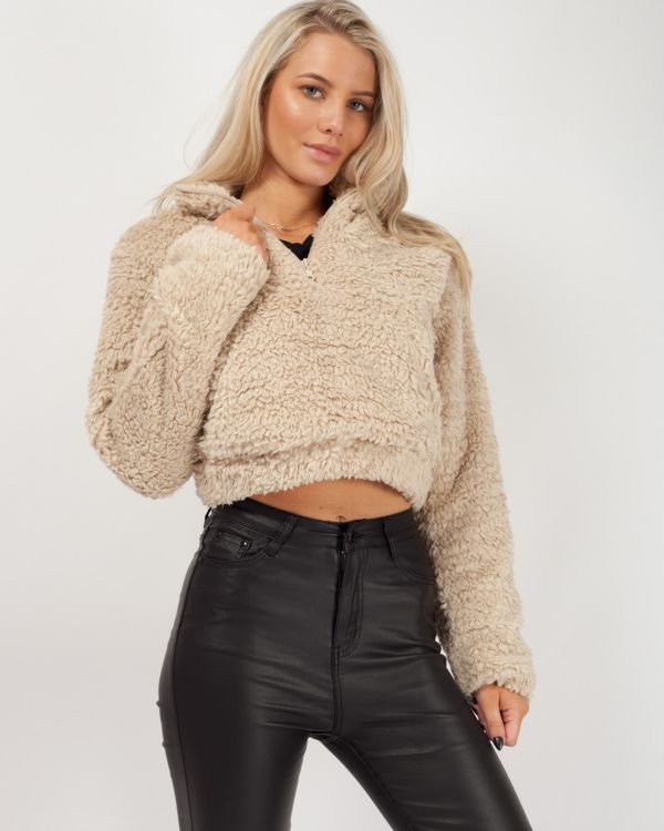 Kimberley Zip Front Cropped Teddy Jumper In Stone