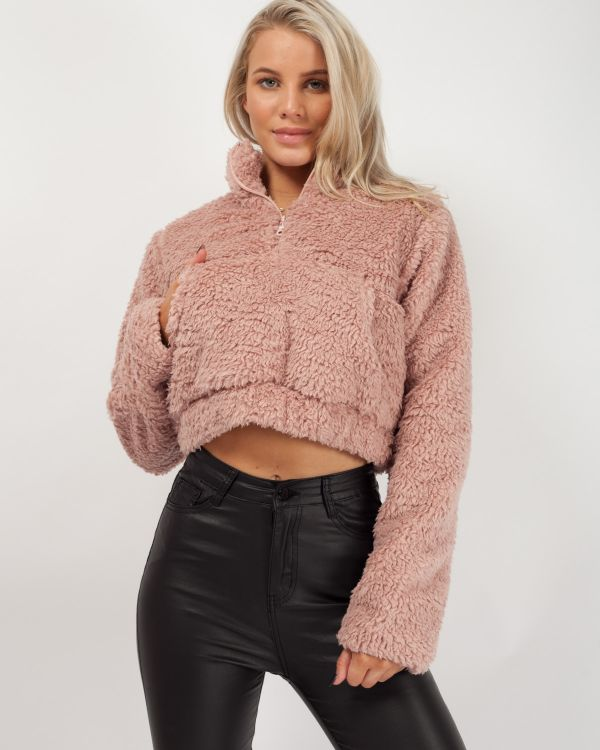 Kimberley Zip Front Cropped Teddy Jumper In Pink