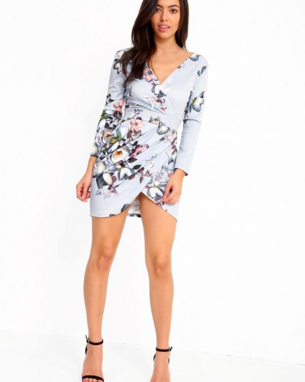 Loira Floral Wrap Over Bodycon Dress In Grey