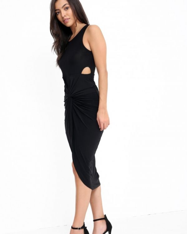 Kiyana Knot Front Slinky Dress In Black