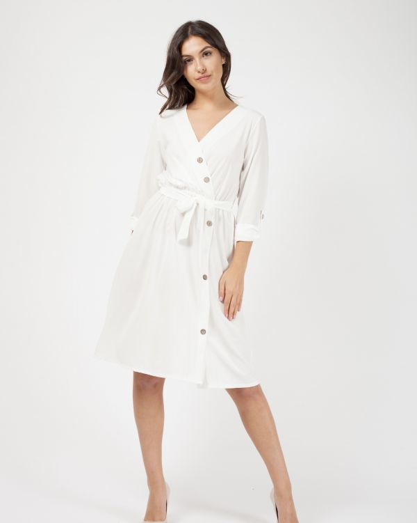 Kaelyn Button Detail Wrap Front Midi Dress In Cream
