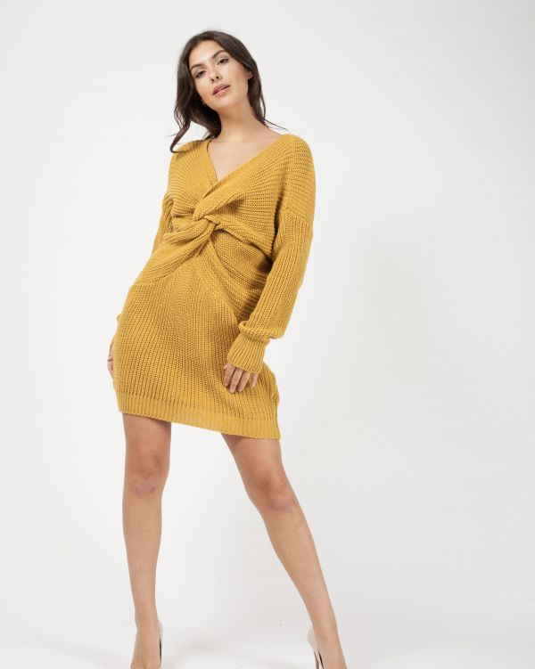Jamila Twist Front Knitted Jumper Dress In Mustard
