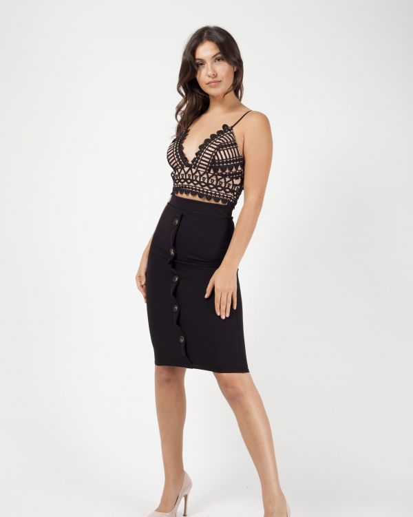 Kaylie Mock Button Front Midi Skirt In Black