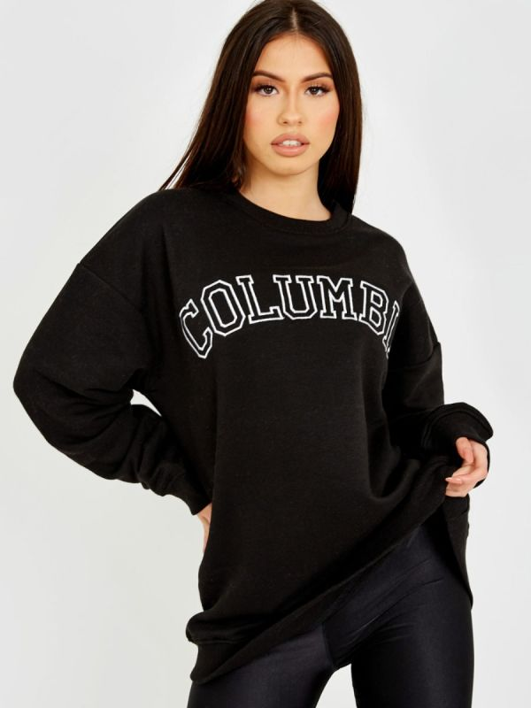 Heather COLUMBIA Embroidered Sweatshirt Jumper In Black