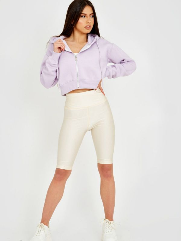 Melissa Zip Up Fleeced Cropped Cardigan Hoodie In Lilac
