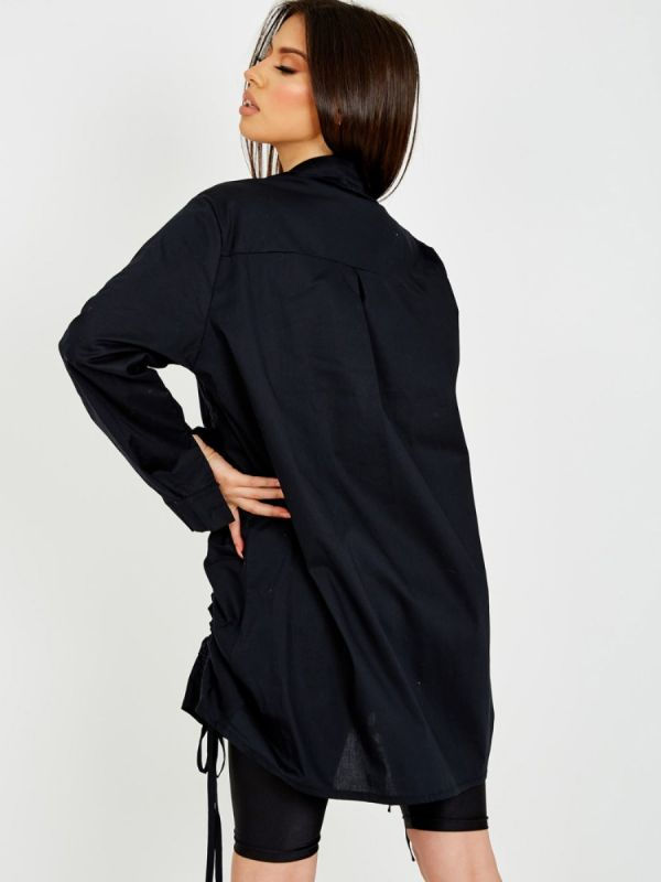 Rachelle Drawstring Ruched Buttoned Shirt Dress In Black