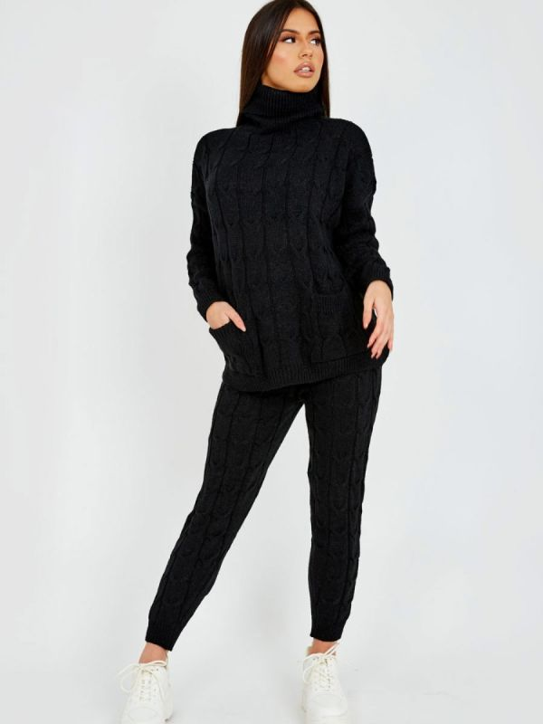 Nicole Cable Knit Top & Trouser Co-ord With Pockets In Black
