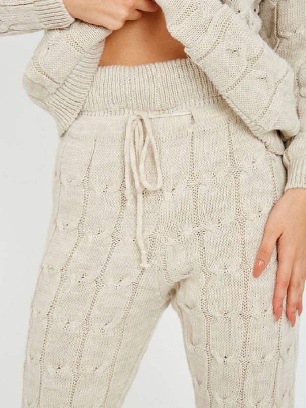 Nicole Cable Knit Top & Trouser Co-ord With Pockets In Stone