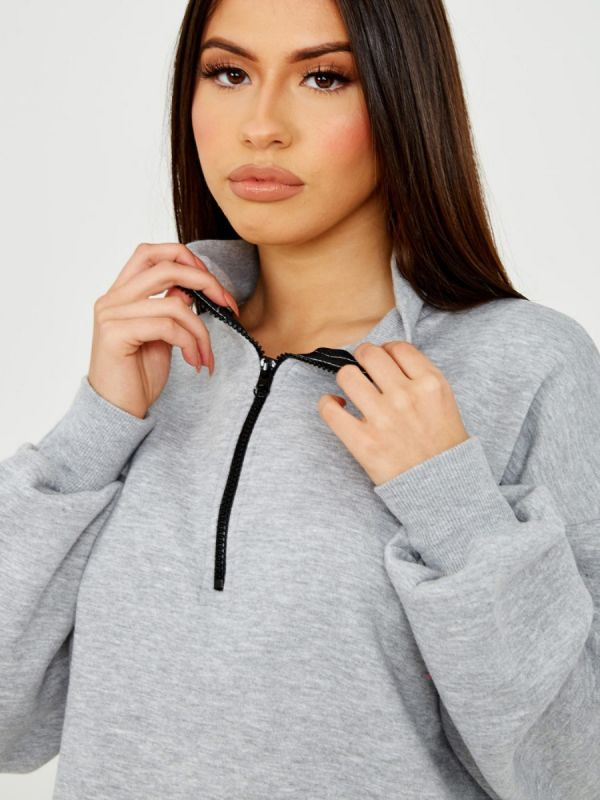 Denise Oversized Zipped Fleece Sweatshirt In Grey