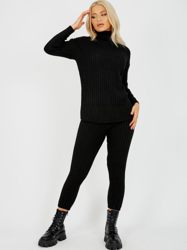 Louli New Roll Neck Knitted Top & Trouser Co-ord In Black
