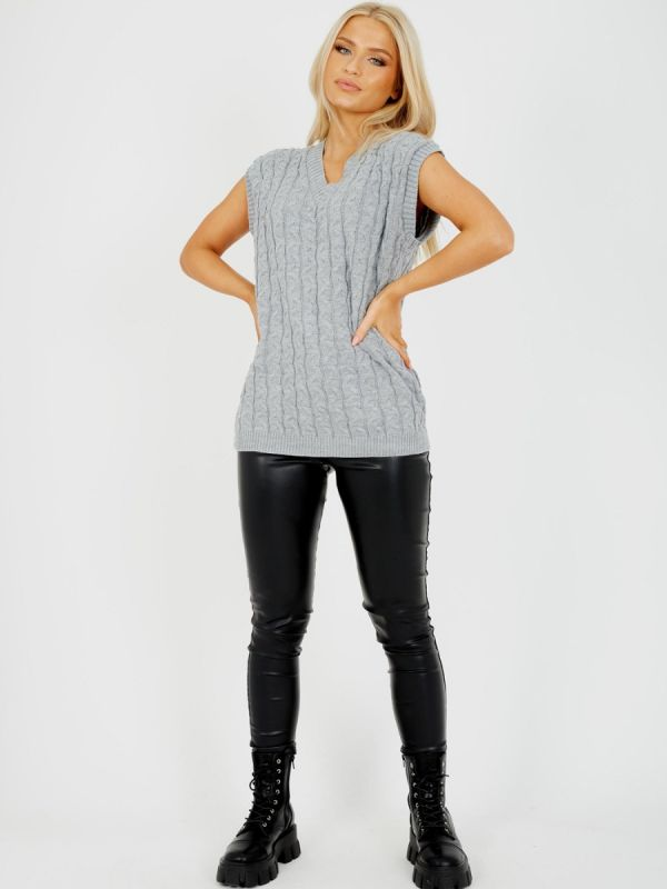 Roberta Cable Knit V-Neck Sleeveless Jumper In Grey