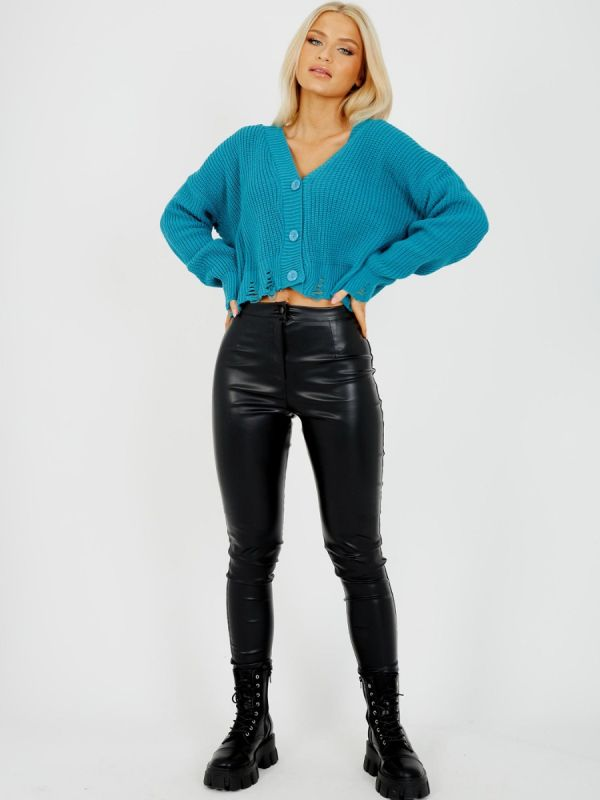 Sasha Distressed Chunky Knit Button Front Cardigan In Teal