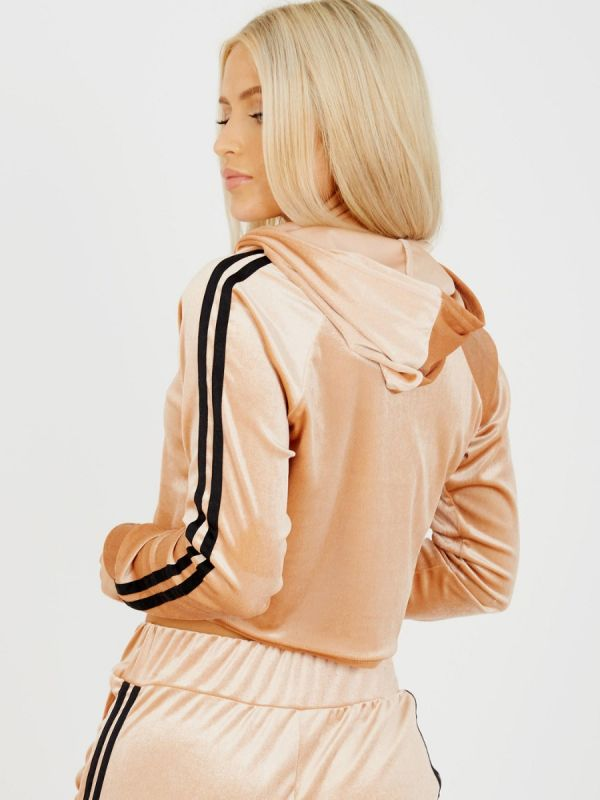 Melia Side Stripe Velour Cropped Tracksuit In Stone