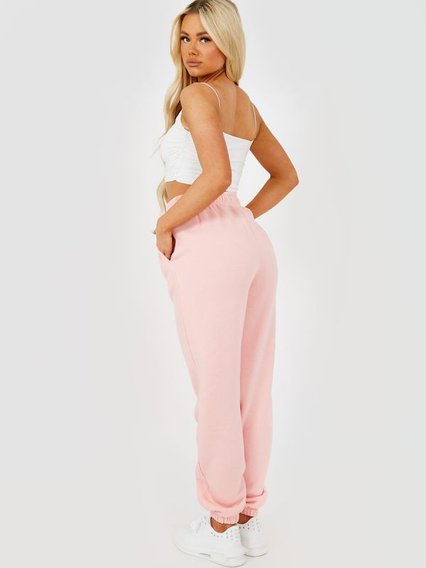 Selena BOSTON Embroidered Fleece Joggers In Pink