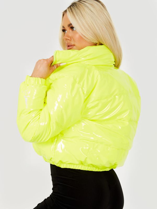 Emilia PVC Leather Cropped Puffer Jacket In Yellow