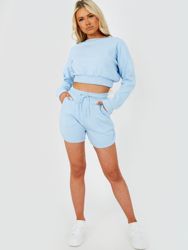 Levi Ribbed Crop Top & Shorts Co-ord In Blue
