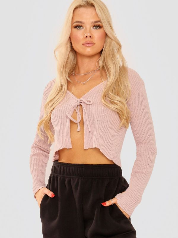 Anne Tie Front Knit Cardigan Top In Rose