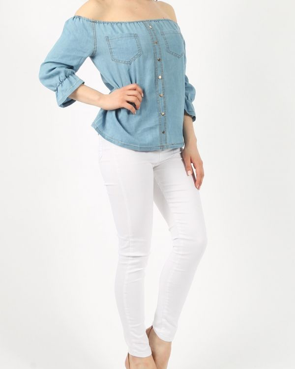 Pamela Gypsy Denim Bardot Top In Blue