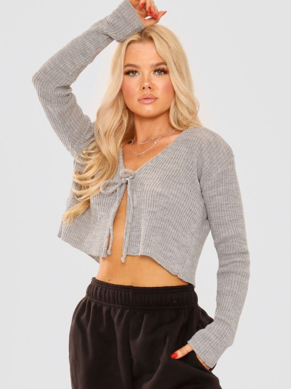 Anne Tie Front Knit Cardigan Top In Grey