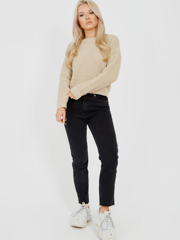 Cliona Fisherman Knitted Cropped Jumper In Stone