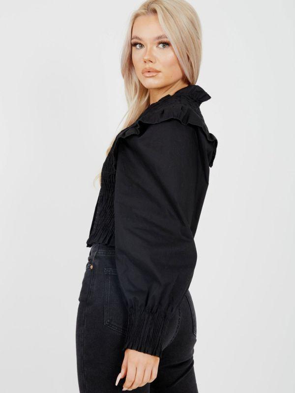 Julia Shirred Frill Detail Cropped Shirt Blouse In Black