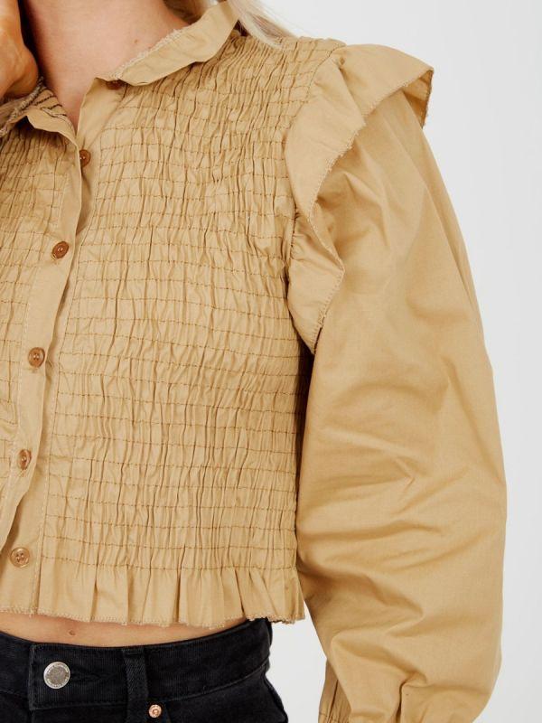 Julia Shirred Frill Detail Cropped Shirt Blouse In Mocha