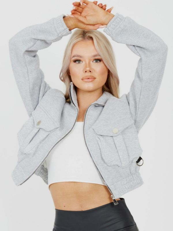 Linda Utility Pocket Thick Cropped Jacket In Grey