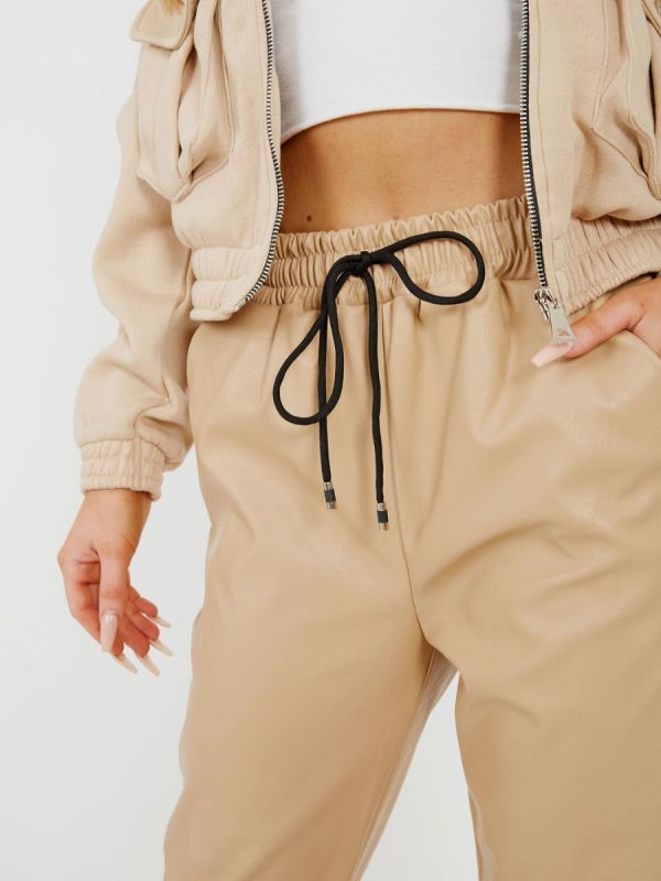 Miya Faux Leather PU Jogger Trousers In Stone