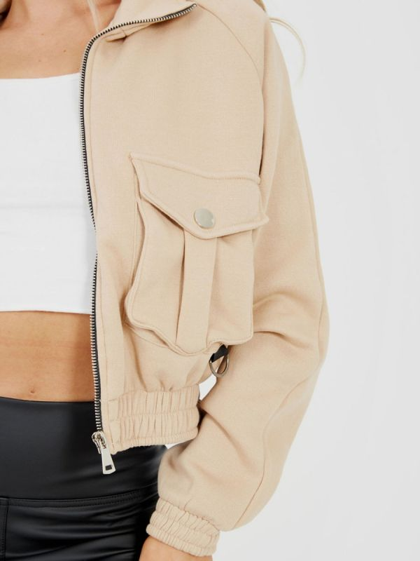 Linda Utility Pocket Thick Cropped Jacket In Stone
