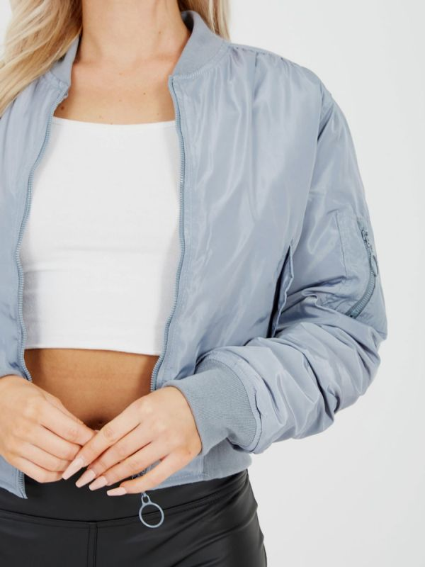 Meg Pull-Ring Zip-Up Bomber Jacket In Grey