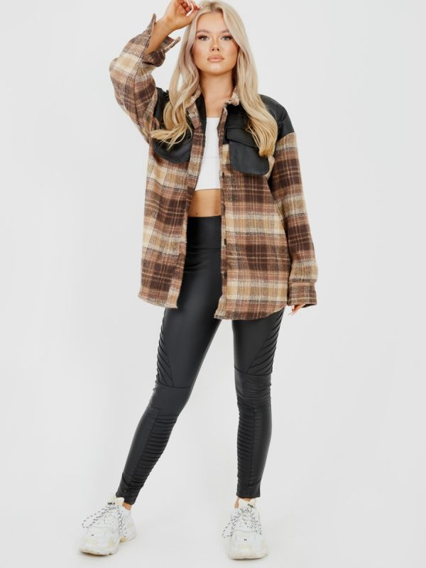 Belle PU Detail Oversized Thick Checked Shacket In Brown