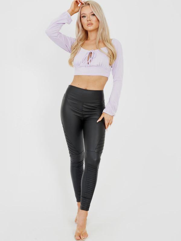 Lindsay Tie Knot Keyhole Front Ribbed Crop Top In Lilac