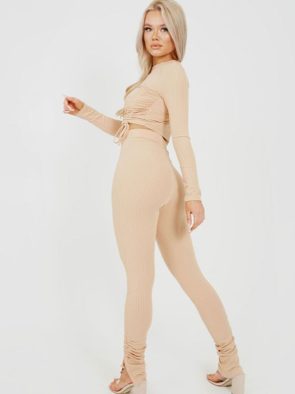 Donna Double Ruched Crop Top & Trouser Ribbed Co-ord In Stone