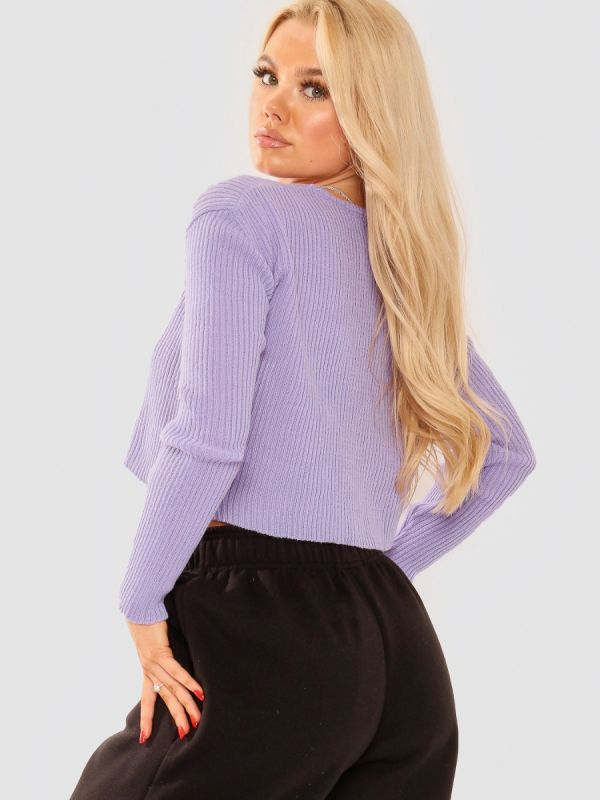Anne Tie Front Knit Cardigan Top In Lilac