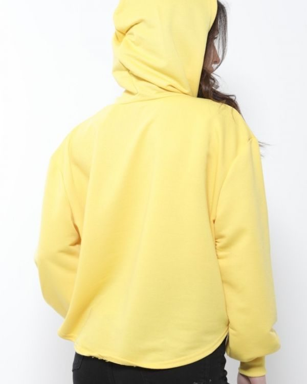Aubrey Oversized 'GIRL BOSS' Crop Hoodie In Lemon