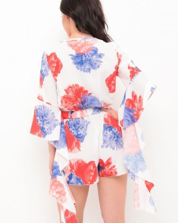 Isla Floral Frill Playsuit In White & Red