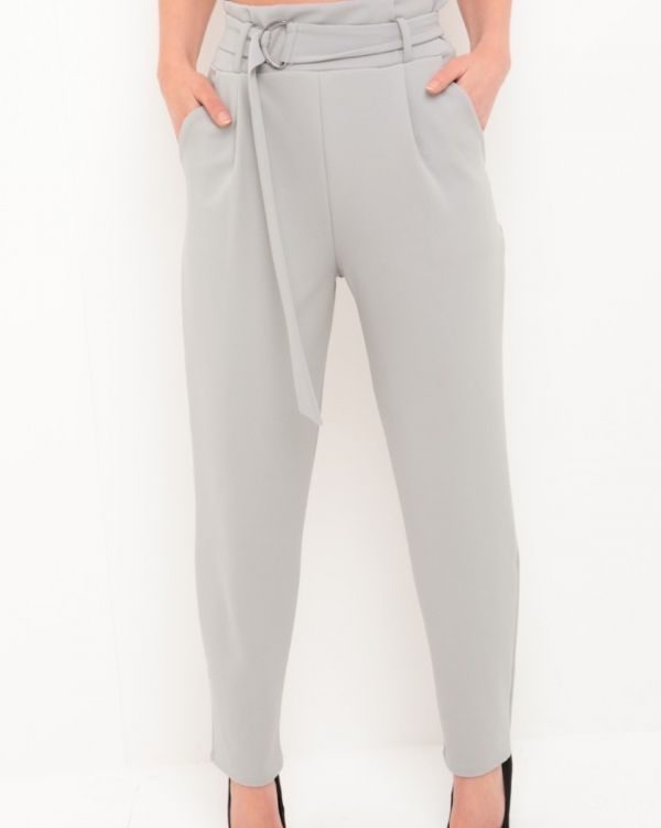Aubree Buckle Belt Trousers In Grey